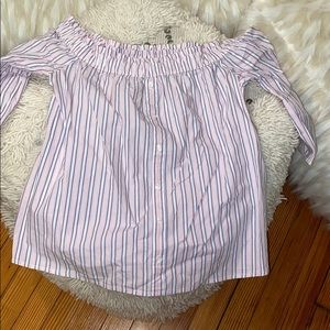Striped Abercrombie and Fitch off shoulder blouse